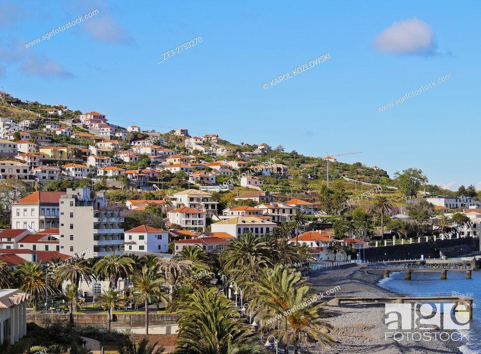 Stock Photo: Portugal, Madeira, View of the stone beach in Santa Cruz. .