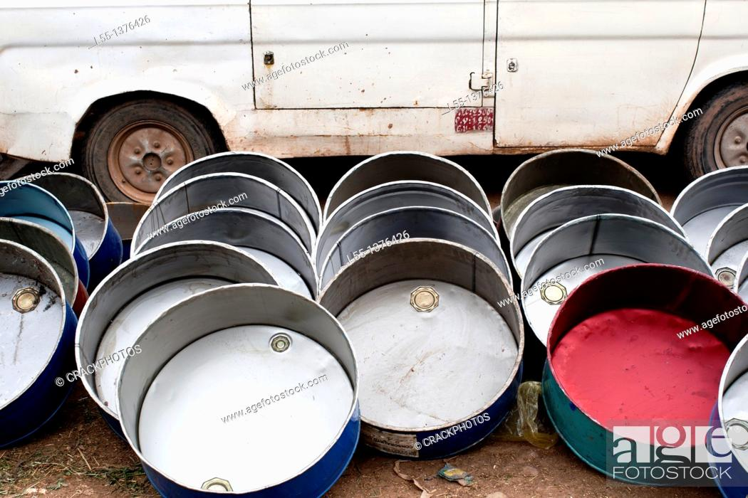 Stock Photo: Recycled metal containers. Morocco.