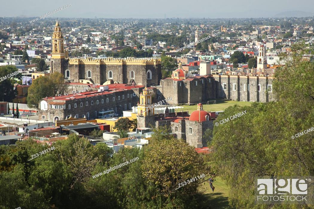 Stock Photo: View to the Convent Of San Gabriel in the city center, Cholula, Puebla State, Mexico, Central America.