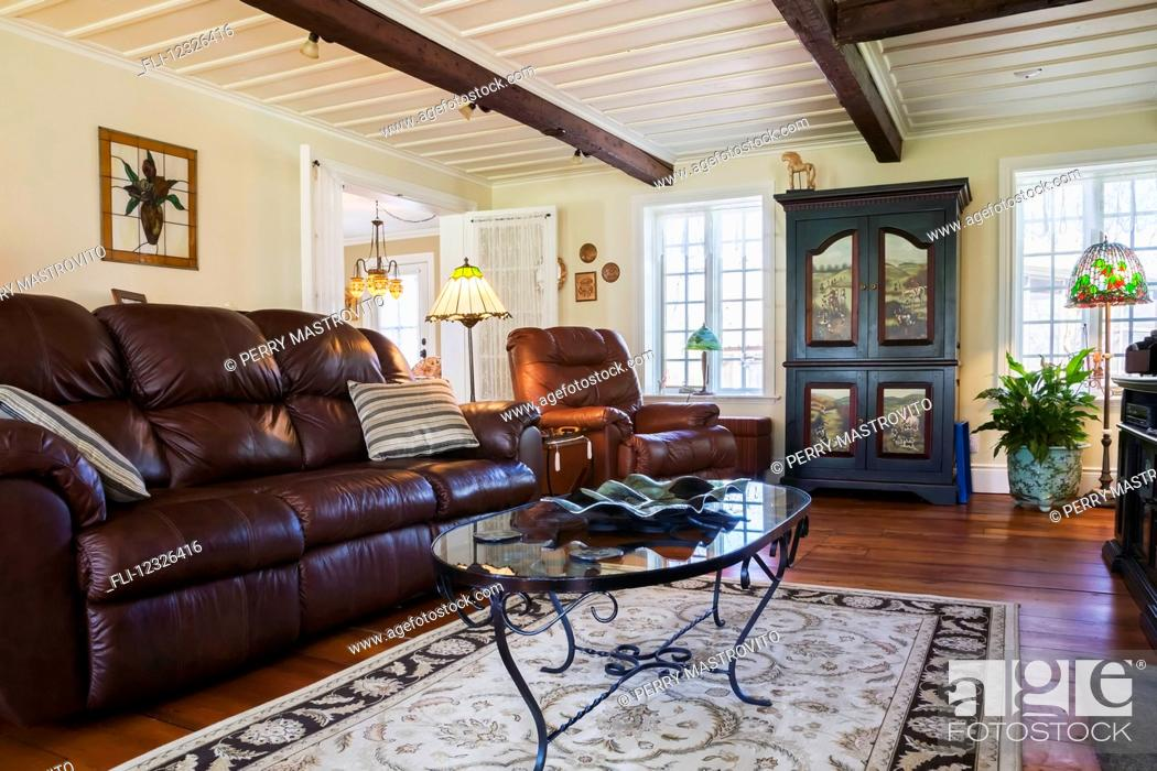 Brown Leather Sofa Chair And Wooden, Cottage Style Living Room With Leather Couch