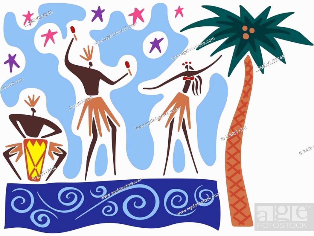 Stock Photo: Hawaiian dancers and musicians performing.