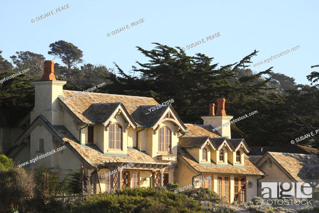 Stock Photo: A home on 17-Mile Drive, Monterey Peninsula, California, United States.
