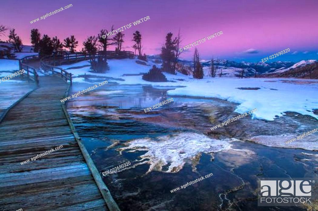 Stock Photo: Yellowstone Winter Landscape at Sunset.