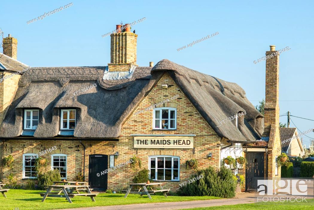 Stock Photo: Characterful Wicken Village pub close to Wicken Fen, Cambridgeshire, England, UK.