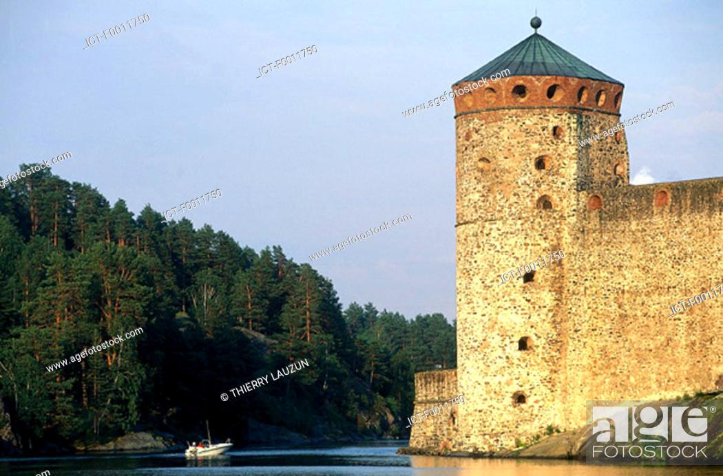 Stock Photo: Finland, Savonlinna, Olavinlinna castle.