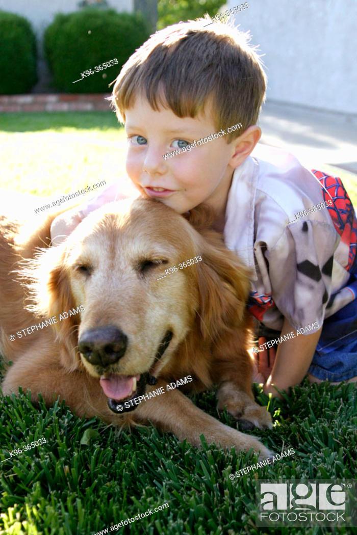 Photo de stock: Boy and his dog.