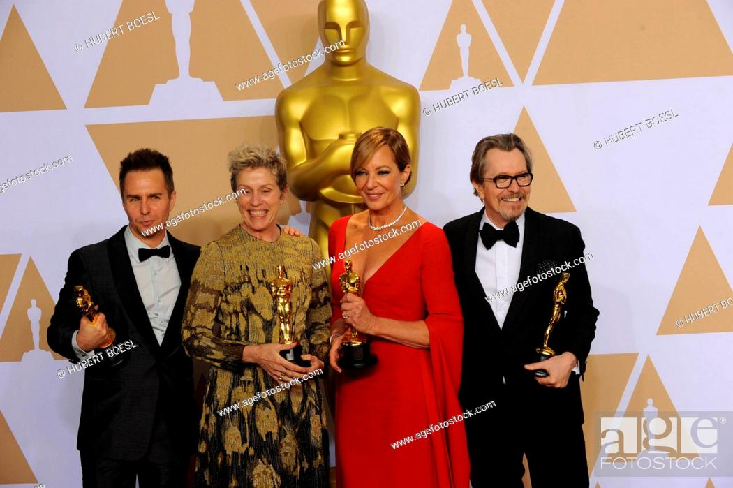 Stock Photo: Sam Rockwell (l-r), Frances McDormand, Allison Janney and Gary Oldman pose in the press room of the 90th Annual Academy Awards, Oscars.