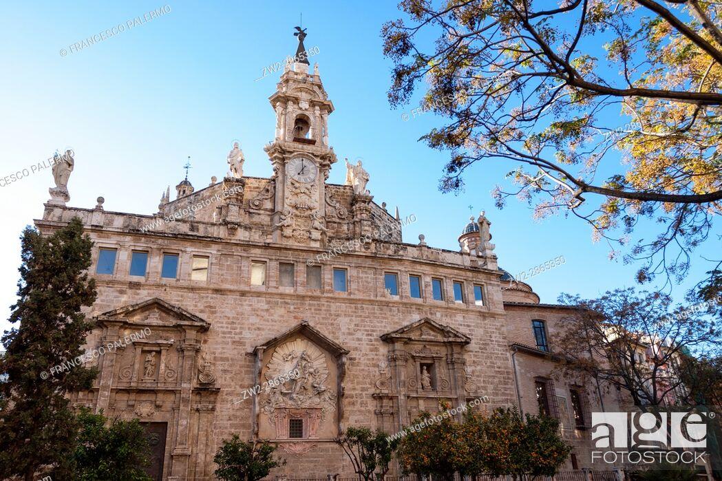 Stock Photo: Facade of church of Santos Juanes. Valencia, Spain.