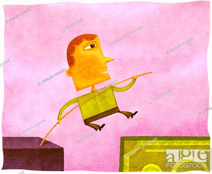 Stock Photo: A man high jumping over a gap onto a bank note.