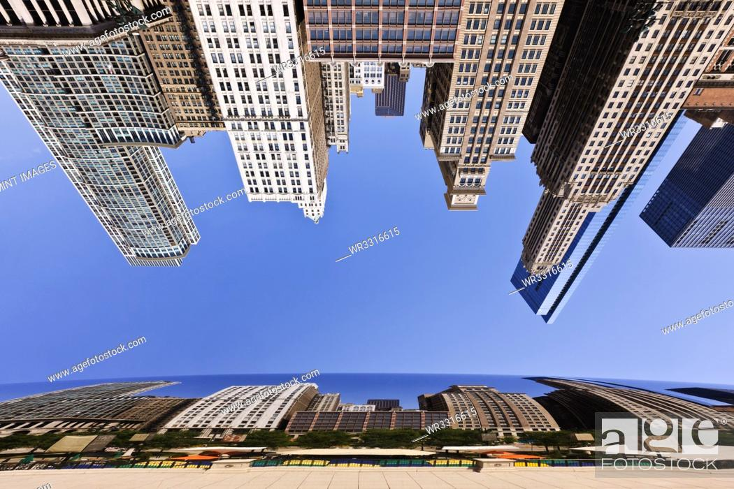 Stock Photo: Chicago Buildings Reflected in the Bean.