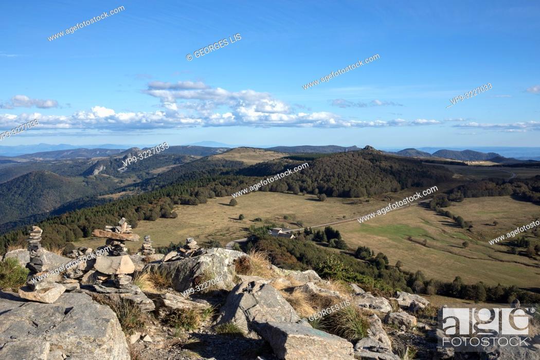 Imagen: Point of view landscape from top of Mont Gerbier de Joncs Ardeche. France.