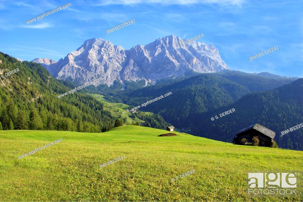 Stock Photo: view from Wengen onto Heiligkreuzkofel, Italy, South Tyrol, Dolomiten.