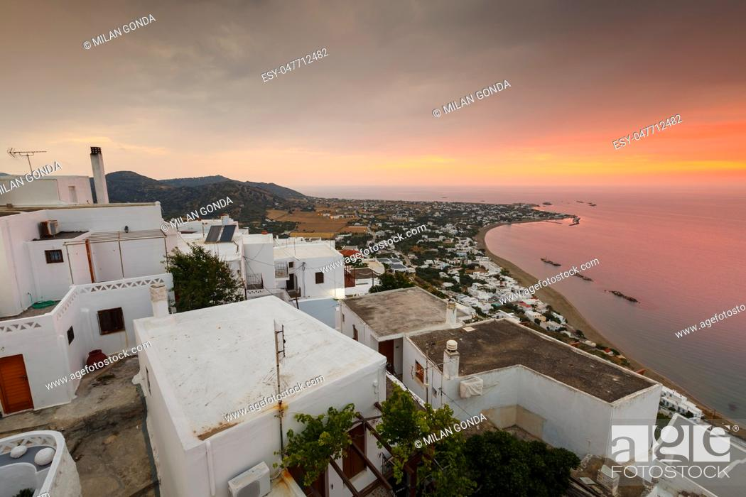 Stock Photo: View of Molos village from Chora, Skyros island, Greece. .