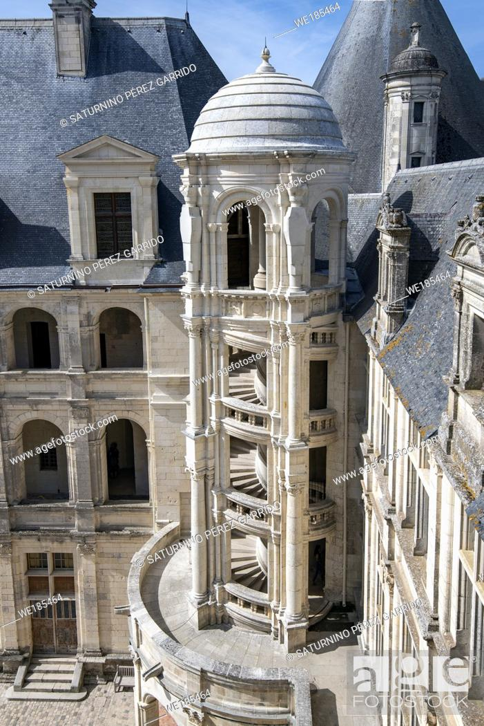 Stock Photo: Inner face of Chambord Castle with detail of one of the outer stairs.