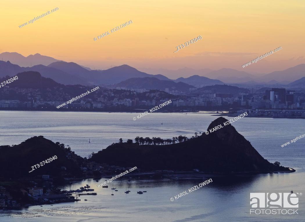 Stock Photo: Brazil, State of Rio de Janeiro, Sunset over Rio de Janeiro viewed from Parque da Cidade in Niteroi.