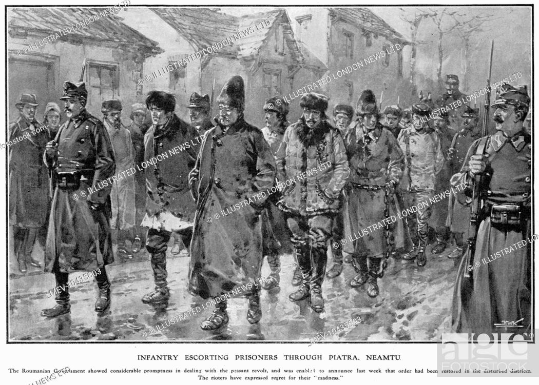 Stock Photo: The iron hand for the rebels: the Romanian government's prompt action in crushing the peasant revolt. Infantry escorting prisoners through Piatra, Neamtu.