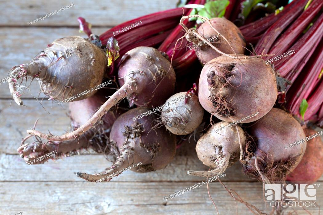 Imagen: Fresh organic beets just picked from the garden on an old wooden table.