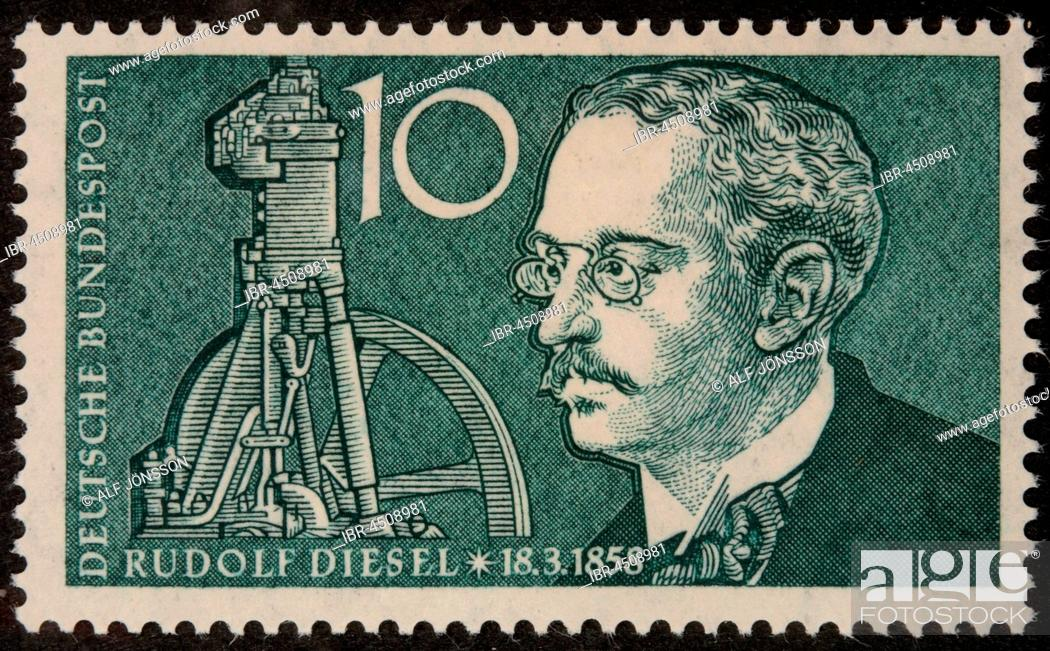 Stock Photo German Stamp Portrait Of The Inventor And Mechanical Engineer Rudolf Diesel
