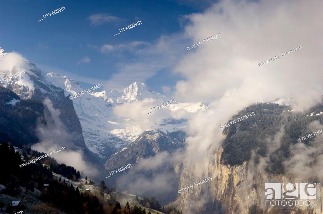Stock Photo: Lauterbrunnen Valley at dawn viewed from Wengen, Bernese Oberland, Switzerland, Europe.