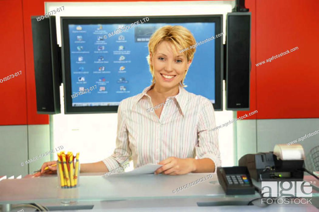 Stock Photo: Woman at desk.