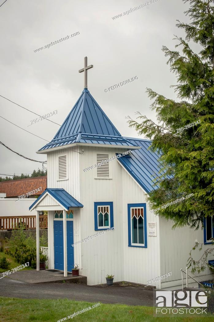 Stock Photo: Newly Painted Church in Ucluelet on Vancouver Island, Canada.