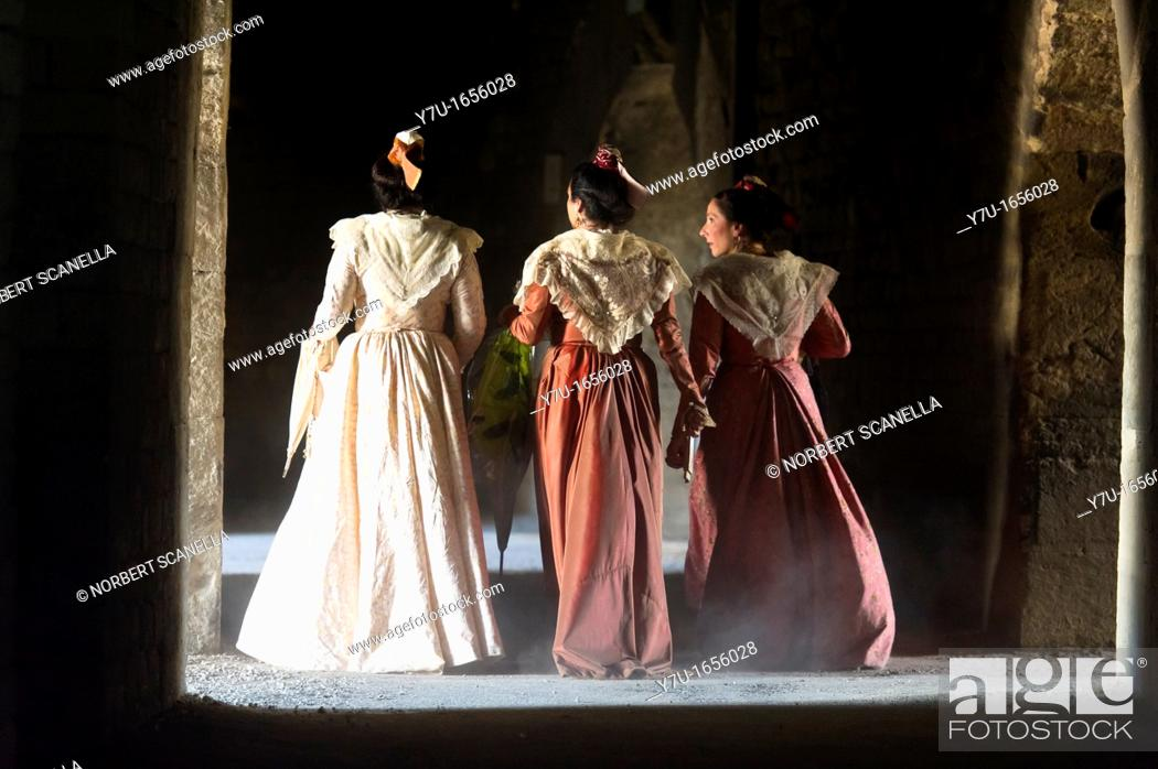 Stock Photo: Europe, France, Bouches du Rhone, Arles. Costume day festival. Arles in the arena.