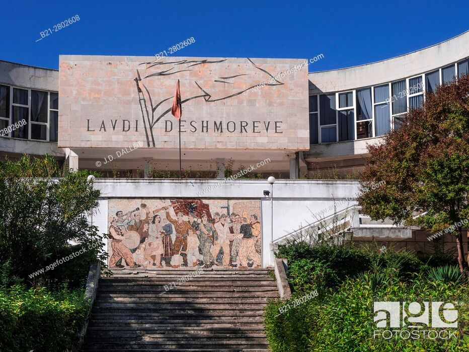 "Stock Photo: Albania, Durrés- at the """"Lavdi Deshmoreve"""", mosaic of the communist time, under Enver Hoxha dictature."
