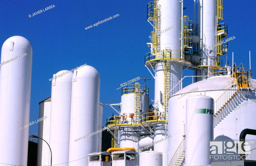 Stock Photo: Industrial gas tanks. Gipuzkoa. Euskadi. Spain.