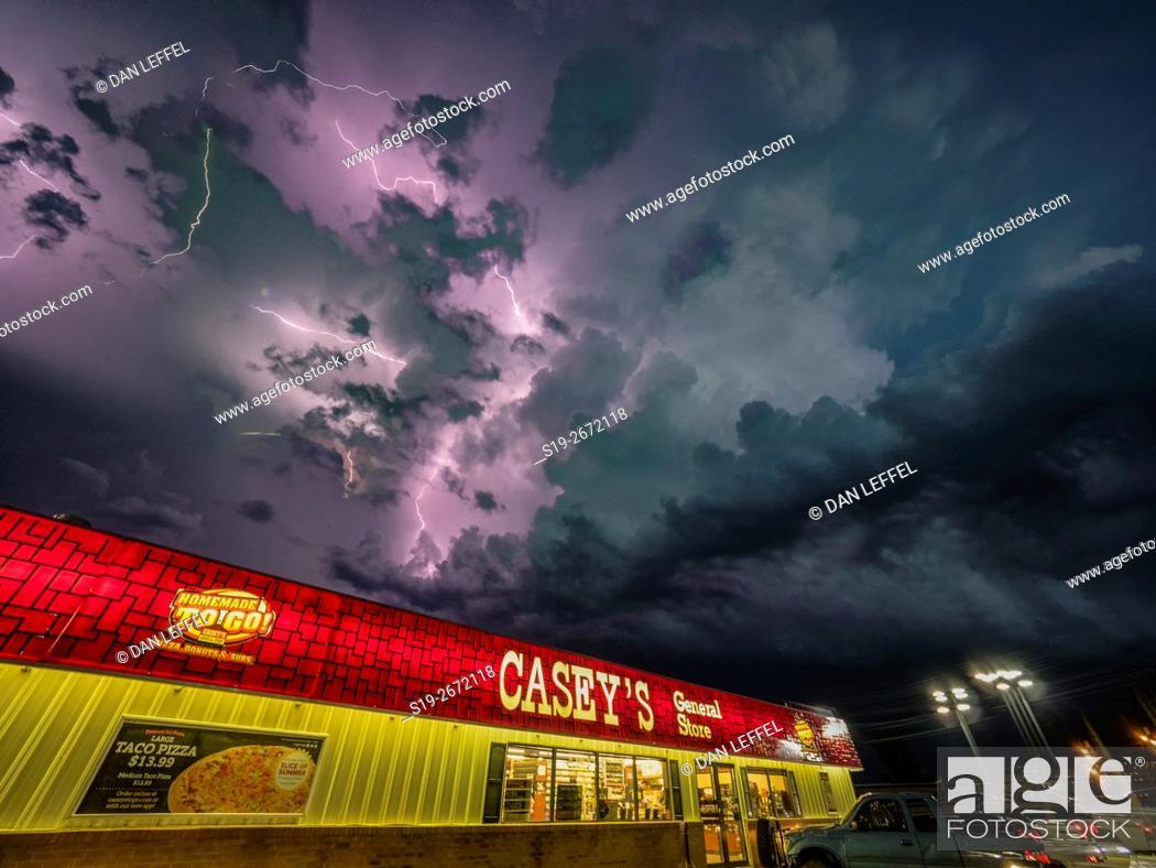 Stock Photo: Lightning Over Chapman Kansas.