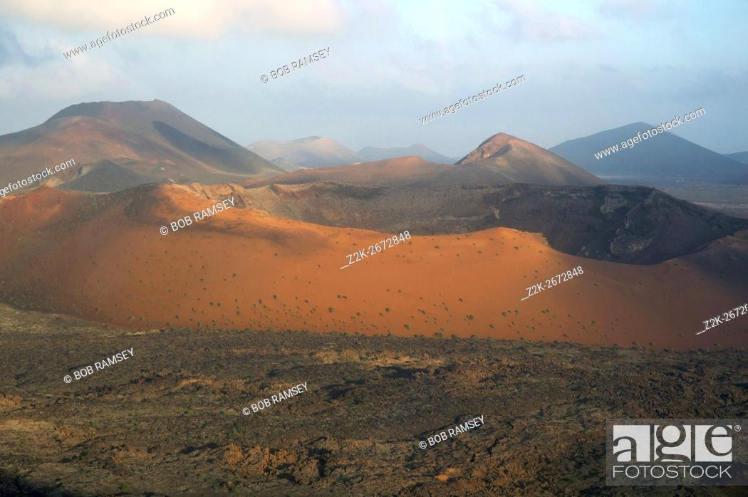 Stock Photo: Timanfaya volcano crater in the island of Lanzarote, Canary Islands, Spain.