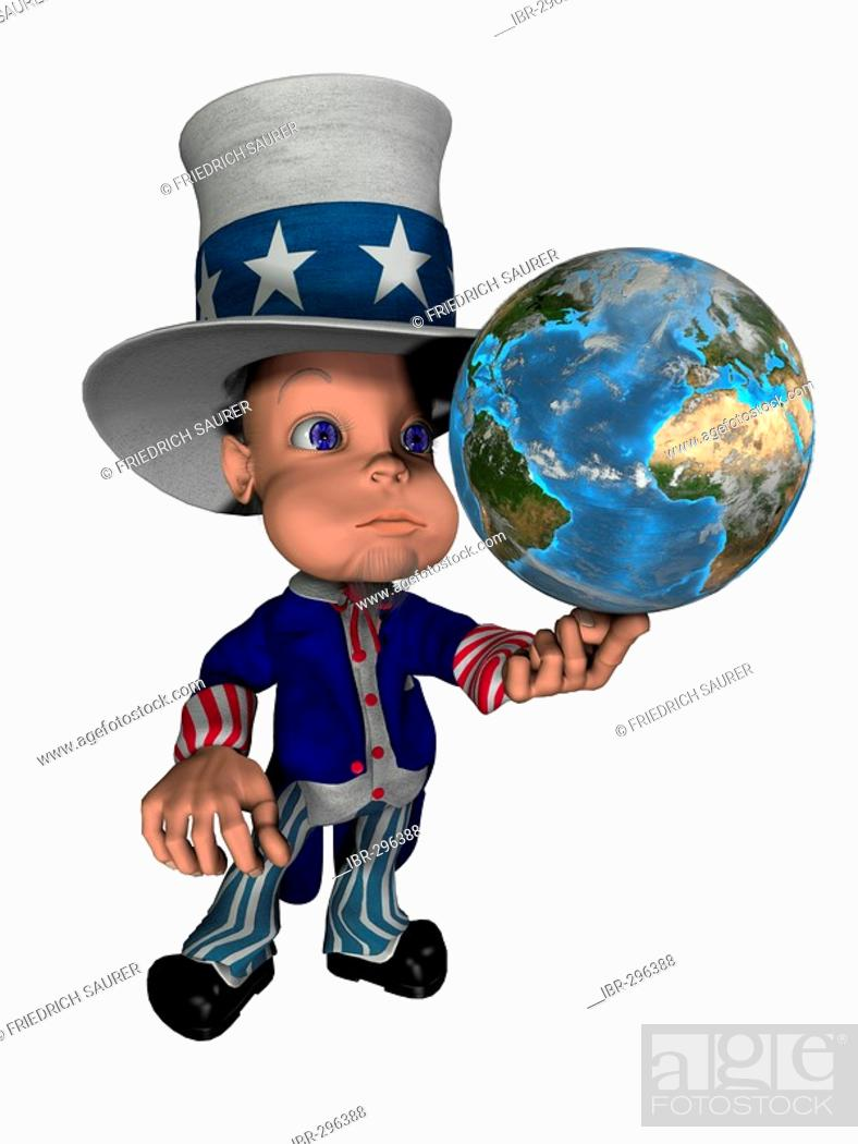 Imagen: National figure Uncle Sam balances the globe on the finger as symbol for control and the influence of the USA on the world.