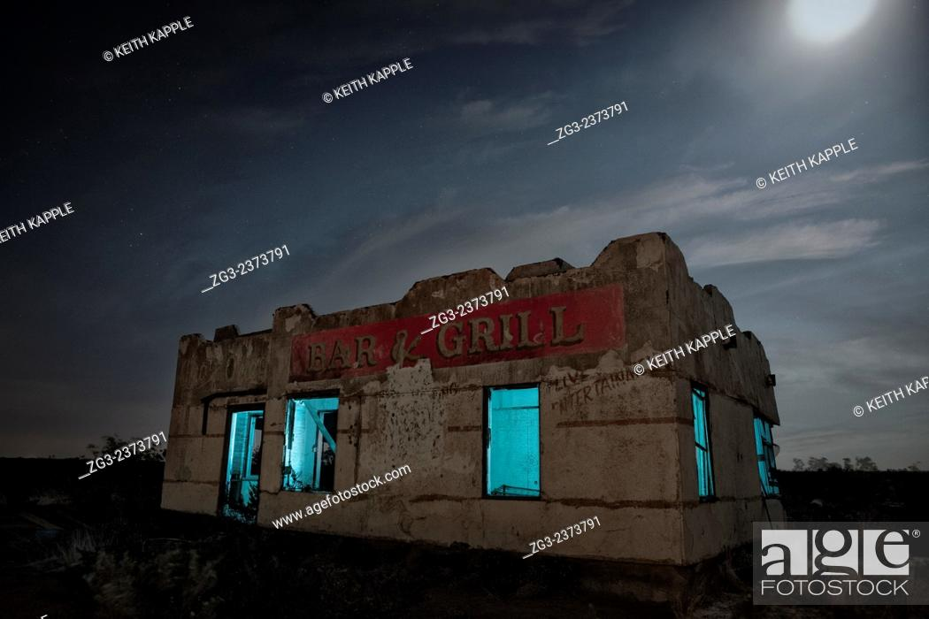 Stock Photo: Abandoned Chata Ortega's Bar & Grill light painting, Toyah, Texas.
