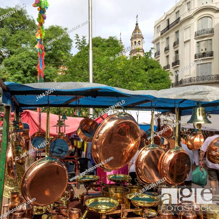 Stock Photo: Argentina, Buenos Aires, San Telmo, Plaza Dorrego, The Sunday Flea Market.