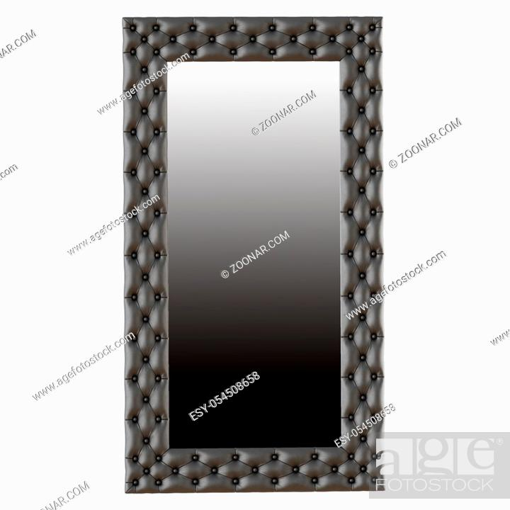 Stock Photo: Large leather mirror capitone on a white background 3d.