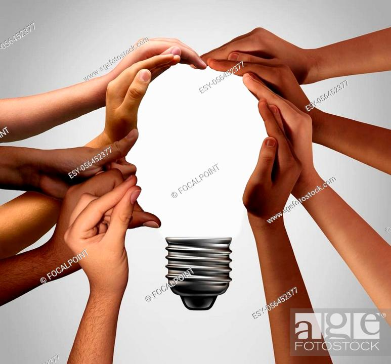 Stock Photo: Human idea bulb concept as diverse creative people joining together with 3D illustration elements.
