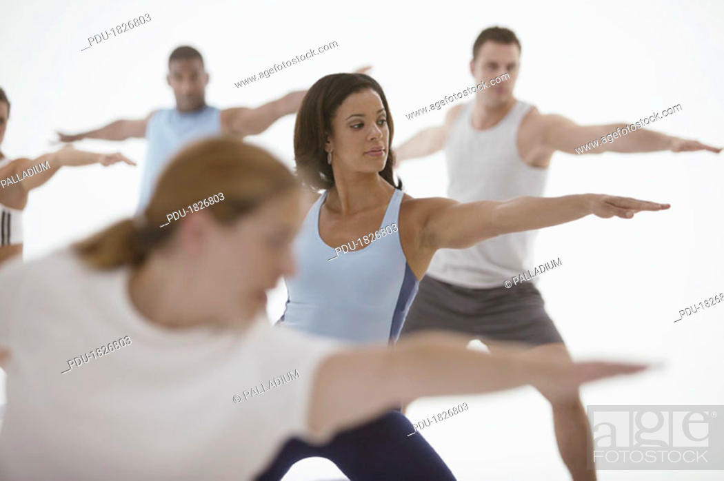Stock Photo: Exercise class.