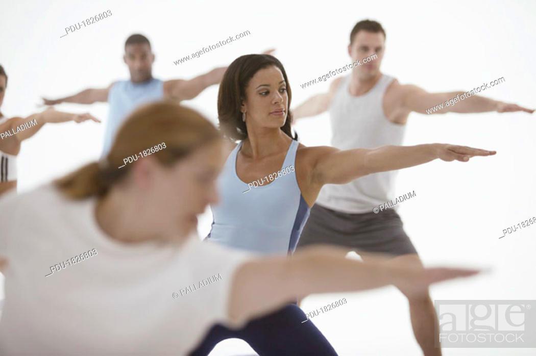 Stock Photo: Exercise class.