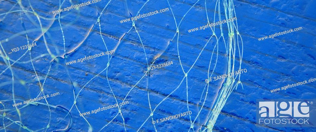 Stock Photo: Fishing nets, Castro Urdiales, Cantabria, Spain.