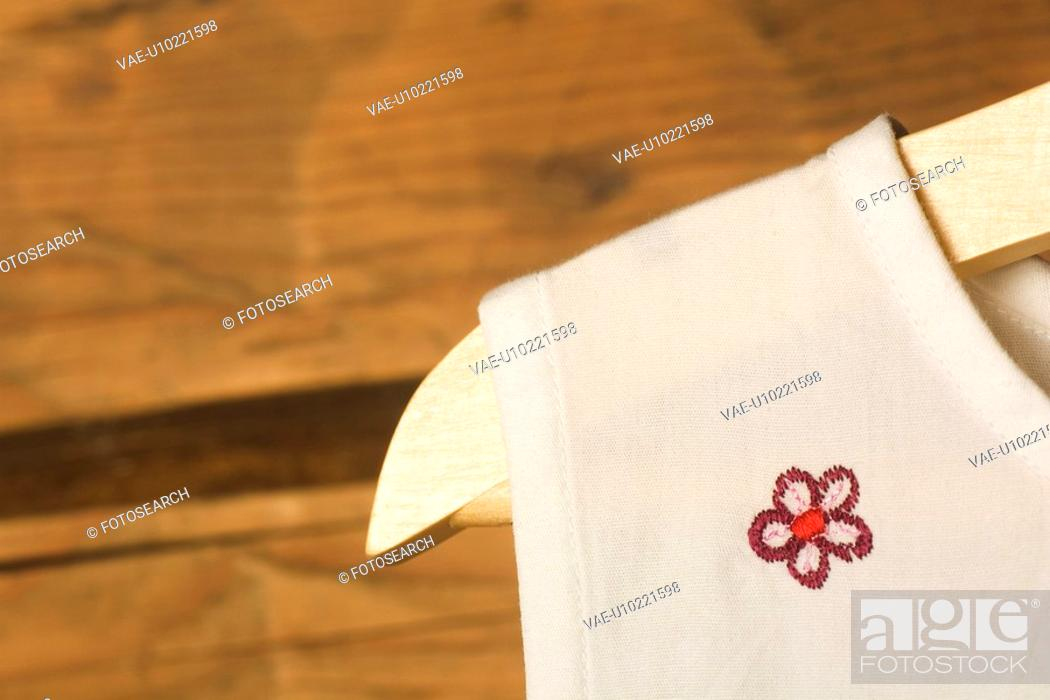 Stock Photo: Close-Up, Day, Embroidery, Fabric, Hanger.
