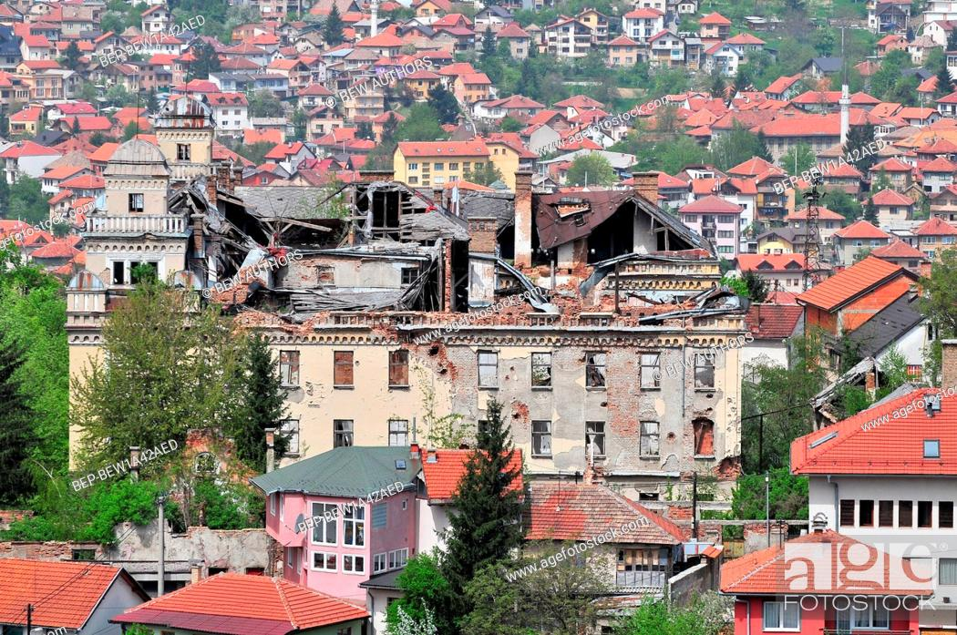 Stock Photo: A panorama of Sarajevo Bosnia. The city has endured nearly four years of civil war and siege.