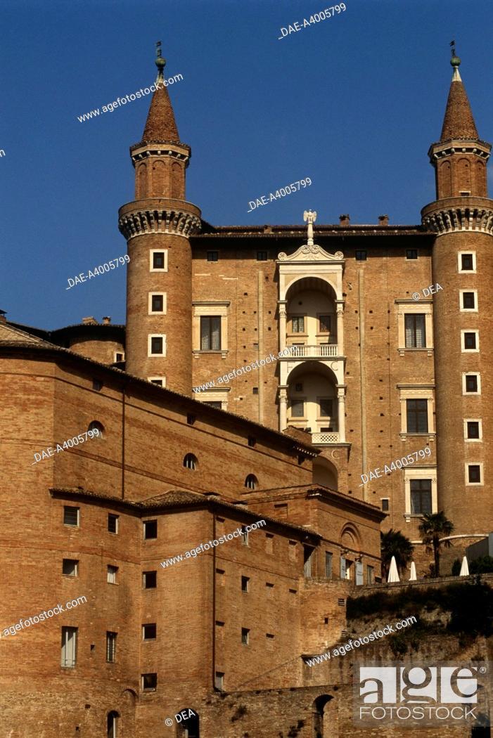 Stock Photo: Italy - Marche Region - Urbino - Ducal Palace (1466-72) - Small tower called Torricini and Raffaello Sanzio Theatre (UNESCO World Heritage List, 1998).