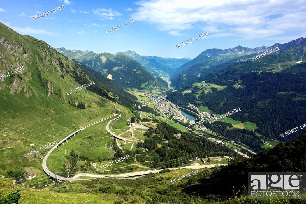 Stock Photo: The Gotthard Pass road leads in many switchbacks over the pass.