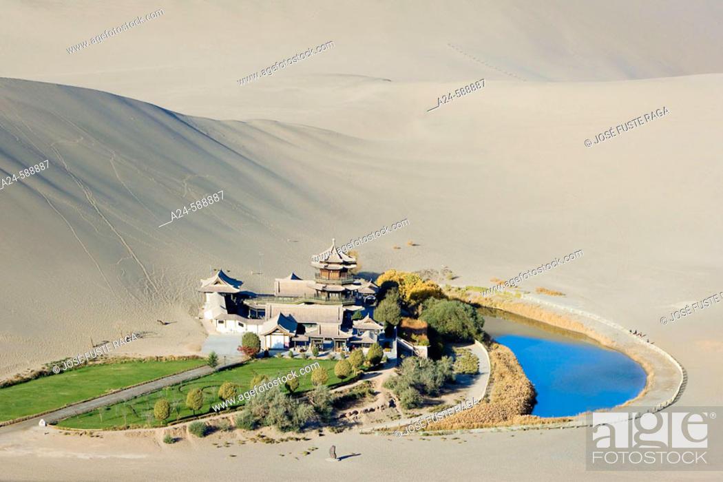 Stock Photo: The Moon Lake. Dunhuang City. Gobi Desert. Gansu Province. The Silk Road. China. Nov. 2006.
