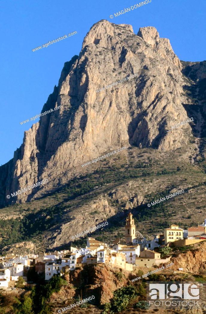Stock Photo: Finestrat village with Puig Campana peak in background. Alicante province, Comunidad Valenciana, Spain.