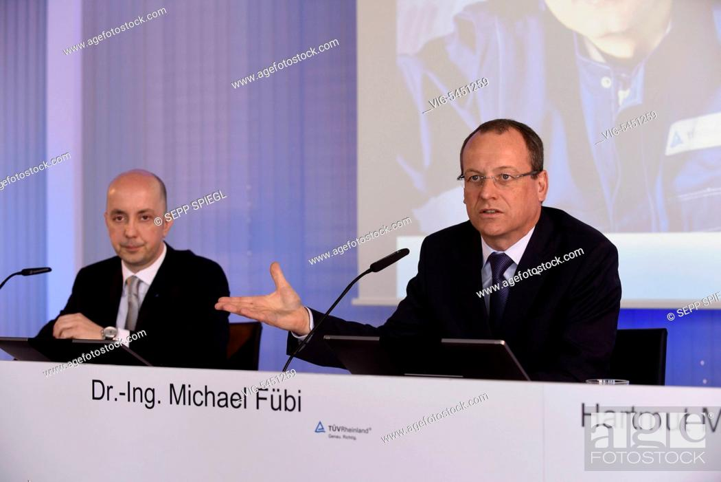 Imagen: Germany, Cologne, 21.04.2016 Dr. Michael Fübi (right), Chairman of the Board and CFO Vincent Furnari, TÜV Rheinland AG, during the press conference - Koeln.