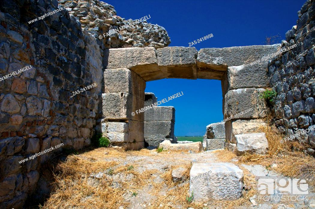Stock Photo: Doorway at the amphitheater at Miletos. Anatolia, Turkey.