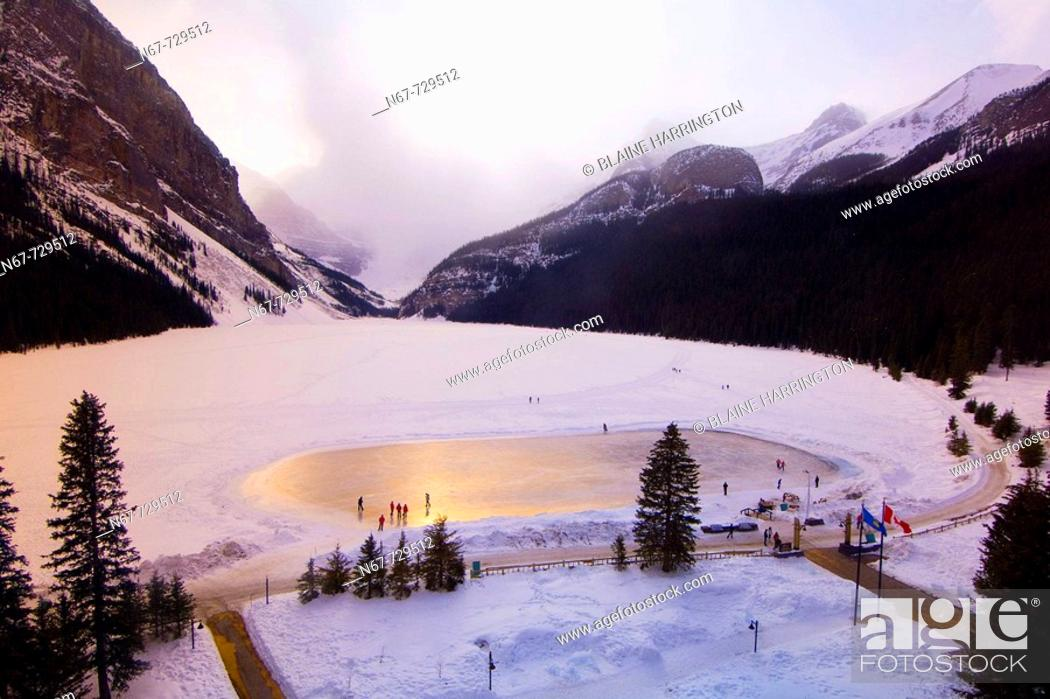 Stock Photo: View of the ice skating rink on Lake Louise from the Fairmont Chateau Lake Louise Hotel, Alberta, Canada.