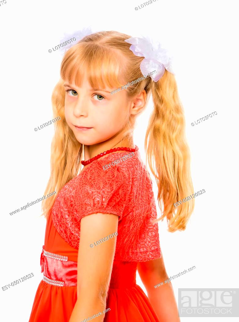 Pleasant A Very Beautiful Little Girl With Long Blonde Ponytails On Her Natural Hairstyles Runnerswayorg