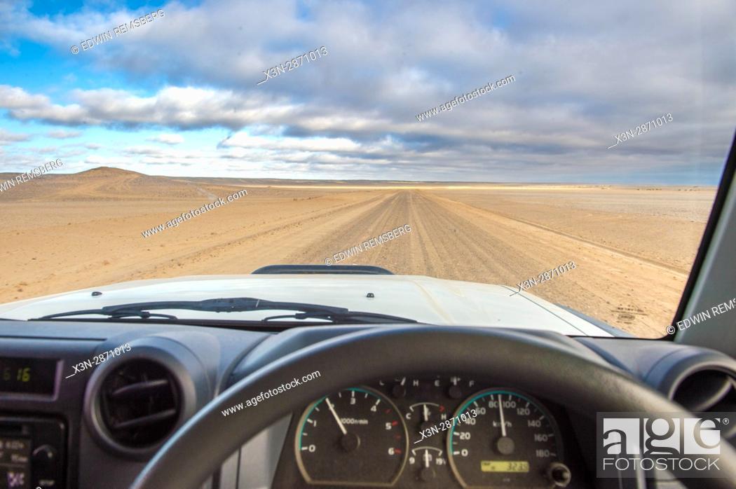 Stock Photo: Driving along Namibia's Skeleton Coast, Africa.