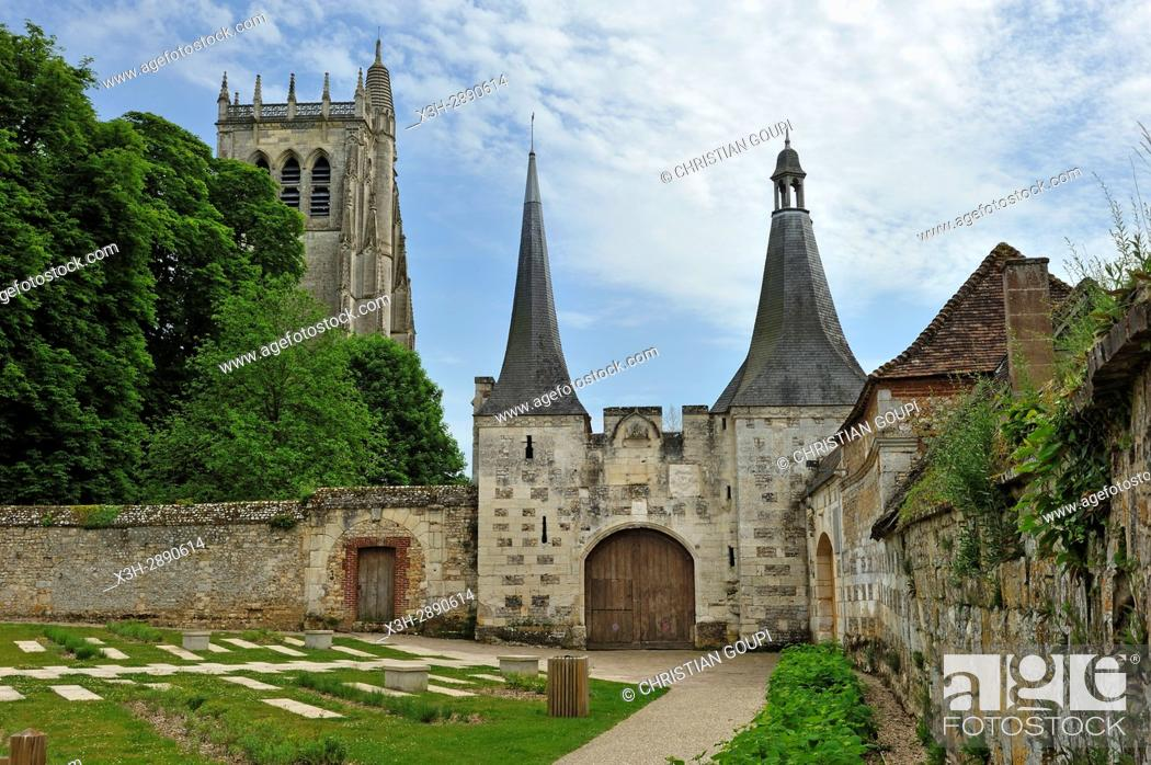 Stock Photo: former main entrance of the Benedictine Abbey of Our Lady of Bec, Bec-Hellouin, labelled Les Plus Beaux Villages de France, Eure department, Normandie region.